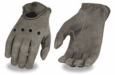 Mens Distressed Grey perforated leather Driving gloves with wrist snap Unlined