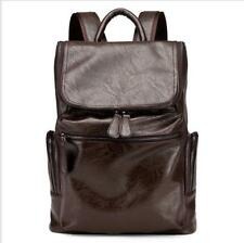 Men's fashion backpack leather casual computer bag laptop bag Student bookbags