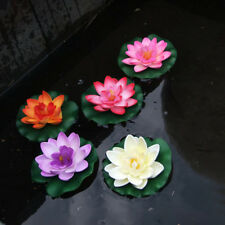 1x Floating Lotus Artificial Flower Water Lily Garden Pool Fishpond Plant Decor