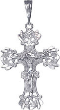 Sterling Silver Cross with Jesus Pendant Necklace Diamond Cut Finish and Chain