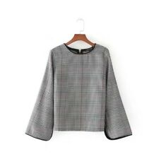 New Womens Houndstooth Print V-Neck Long Sleeve Back Zip Up Blouse Tops Shirt