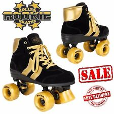 Rookie Authentic Ladies V2 Quad Roller Skates Womens Derby Black Gold UK Size 7