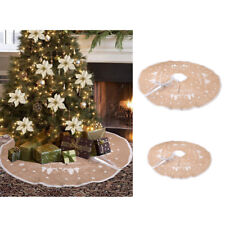 Vintage Brown Linen Christmas Tree Skirt Xmas Ornament Home Decoration