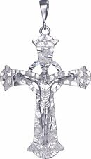 Huge Heavy Sterling Silver Celtic Cross with Jesus Pendant Necklace 43 Gram 4.5""