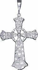 Huge Sterling Silver Celtic Cross Pendant Necklace 4.1 Inches 19 Grams