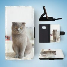 BRITISH SHORTHAIR CAT 17 FLIP WALLET CASE COVER FOR SAMSUNG GALAXY S7