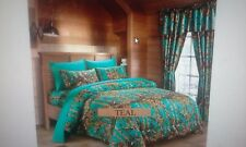 12 PC  TEAL WOODS  COMFORTER,SHEET AND CURTAIN  SET.   ALL SIZES, 16 COLORS