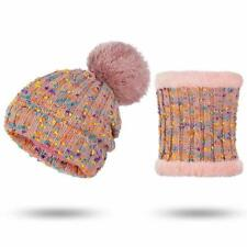 Two Pieces Sets Winter Hat Scarf For Women Hat And Scarf Pom Pom Knitted Beanies