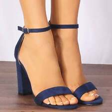 NAVY BLUE ANKLE STRAP BLOCK PEEP TOES STRAPPY SANDALS HIGH HEELS SHOES SIZE