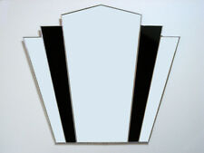 Art Deco Fantail Stained Glass Black Wall Mirror FT10 49cm x 56cm