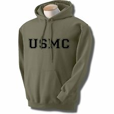USMC ATHLETIC MARINES HOODED HOODIE HOODY SWEATSHIRT MILITARY GREEN