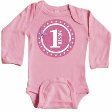 Inktastic One Month Butterfly Long Sleeve Creeper Baby 1 Old Im White Star