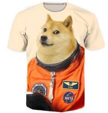 The Doge Astronaut Short Sleeve Graphic Tee Mens Casual Funny 3D Print T-Shirt Q