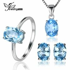 5.8ct Blue Topaz Ring Earrings Necklace 925 Sterling Silver Jewelry Sets