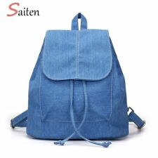 2017 New Denim Canvas Women Backpack Drawstring School Bags For Teenagers Girls