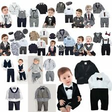 Baby Boy Wedding Christening Formal Tuxedo Suit Outfit Romper+Jacket Clothes Set