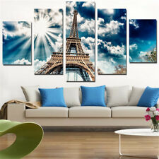 Framed 5 Panel Eiffel Tower Oil Painting Printed Canvas Wall Art Home Decorative
