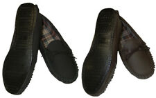 Genuine Leather Moccasin Slippers Hard Sole Mens Black, Brown Sizes 6-12 UK Made
