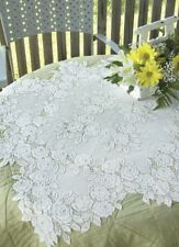 "Heritage Lace 30"" x 30"" Tea Rose Table Topper White or Ecru  100% Polyester"
