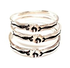 (SIZE 3,4,5,6,7,8) Set of 3 STACK RINGS: Hieroglyphic .925 STERLING SILVER