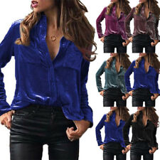 UK Women Velvet Loose Chic T-Shirt Long Sleeve Casual Loose Button Tops Blouse