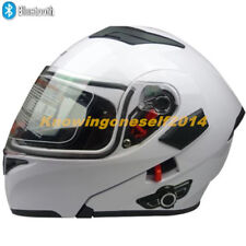 White Bluetooth Motorcycle Motor Cross Dual Visor Helmet Flip Up Full Face