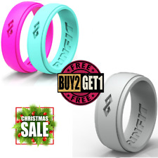 Silicone Wedding Rings | Wedding Bands for Men and Women- 3 Ring pack - RINFIT