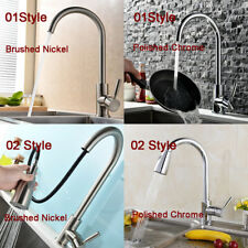 Swivel Sink Mixer Tap Brushed Nickel/ Polished Chrome Kitchen Faucet Single Hole
