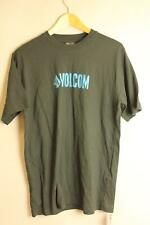VOLCOM A353609 WATERBASED SS BASIC BLACK T-SHIRT WITH BLUE VOLCOM PRINT