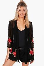 NEW Boohoo Womens Ivy Embroidered Mesh Kimono in Viscose 5% Elastane