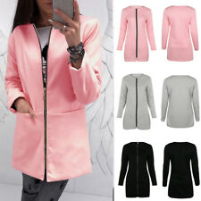 UK Womens Warm Long Jacket Cardigan Casual Zipper Hoodie Coat Outerwear Tops