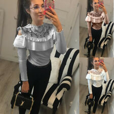 Casual Loose Top T-shirt Long Sleeve Slim Lotus Lace O-neck Blouse Fashion Women