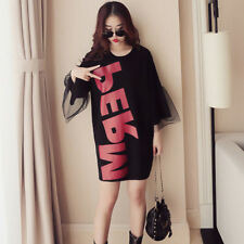 Women's Letter Print Crewneck Mesh Splice 3/4 Bell Sleeve Mini T-shirt Dress
