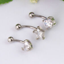 Reverse Belly Button Ring Clear Gem Navel Bar Dangle Body Piercings
