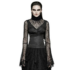 Punk Rave Violetta Black Spider Web Lace Long Sleeve Top [Special Order] - Gothi