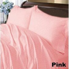 1000TC EGYPTIAN COTTON FITTED/FLAT/DUVET/BED-SKIRT US-SIZES PINK STRIPE