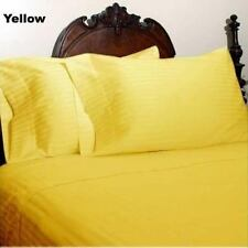 1000 TC EGYPTIAN COTTON FITTED/FLAT/DUVET/BED-SKIRT US-SIZES YELLOW STRIPE