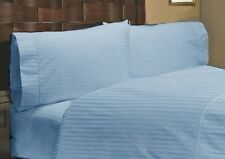 1000 TC EGYPTIAN COTTON FITTED/FLAT/DUVET/BED-SKIRT US-SIZES SKY BLUE STRIPE