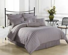 1000 TC EGYPTIAN COTTON FITTED/FLAT/DUVET/BED-SKIRT US-SIZES SILVER STRIPE