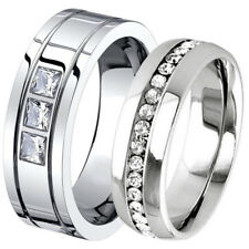 His & Hers Wedding Anniversary Stainless Steel CZ Eternity Ring Band Set 6 8 mm