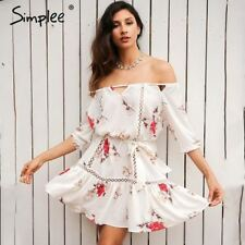 Simplee Off shoulder hollow out summer dress Loose floral print pleated sexy sho