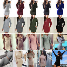 Women Knitted Long Sleeve Jumper Sweater Tops Winter Bodycon Hoodies Mini Dress