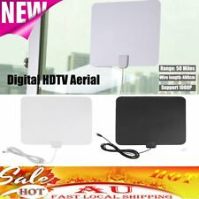 Digital Indoor Amplified HDTV TV Antenna High Gain w/ Adapter 50 Miles BLK/WHT X