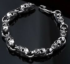 Stainless Steel Bracelet Skull Men Biker Gothic S Chain Silver Mens Bangle Punk