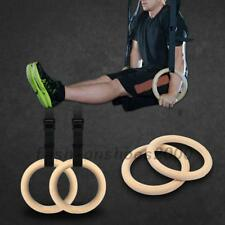 Wood Gymnastic Olympic Gym Rings + Adjustable Buckle Straps Strength Training