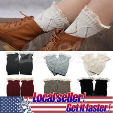 US NEW Womens Crochet Knit Knitted Lace Leg Warmers Cuffs Toppers Boot Socks di