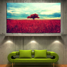LONE RED TREE Modern Abstract Landscape Canvas Painting Poster  : 4 Size