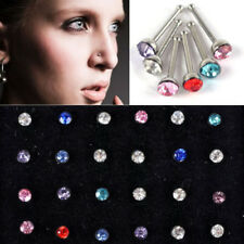 Hot 24Pcs Surgical Steel Rhinestone Round Nose Ring Stud Body Piercing Jewelry