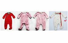 NEW Girls Baby velour outfit footed NWT 3m 6m 9m Dressy Pink Soft Xmas Christmas