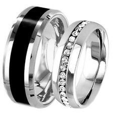 His Hers Wedding Set Black Titanium 8 mm Band & Stainless Steel Eternity CZ Ring